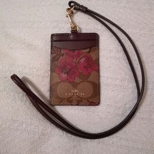🆕 Coach Signature Victorian Floral Lanyard ID